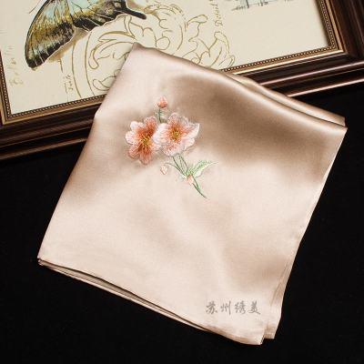 蘇繡真絲手帕中國風手工刺繡手巾女士繡花手絹絲綢伴手商務禮品