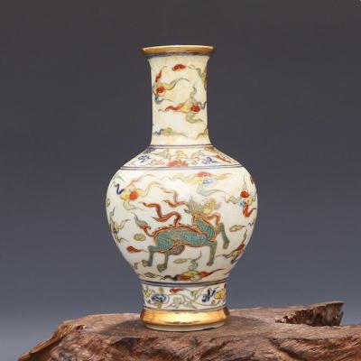 精品 明 成化 青花斗彩镶金 双龙穿云纹 发口鼓腹瓶 古董瓷器收藏