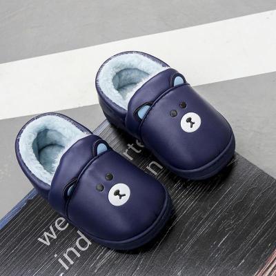 1-8歲PU皮面兒童棉拖鞋包跟冬季加絨防水保暖男女童小孩寶寶拖鞋 莎丞