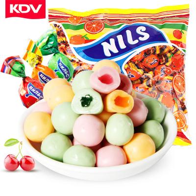 俄罗斯进口kdv橙子味夹心糖500g*2喜糖网红休闲零食品糖果批发
