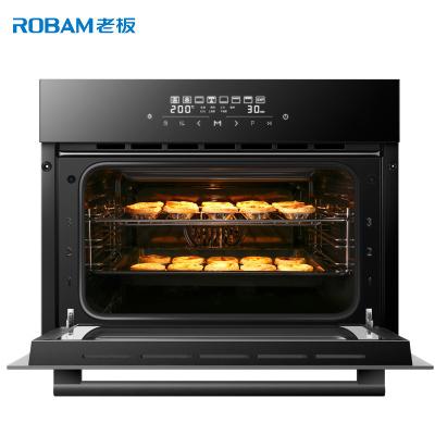 老板(ROBAM)家用40L容量钢化玻璃面板不锈钢管1℃精控旋转烧烤嵌入式电烤箱 KQWS-2150-R070A