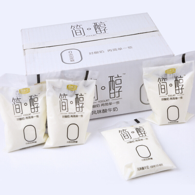 君樂寶簡醇無糖酸奶網紅袋裝兒童老年營養奶酸牛奶整箱160g*12袋