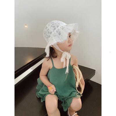 抹炫(MOXUAN)儿童帽子夏季2019新款时尚优雅女童宝宝白色蕾丝防晒渔夫帽