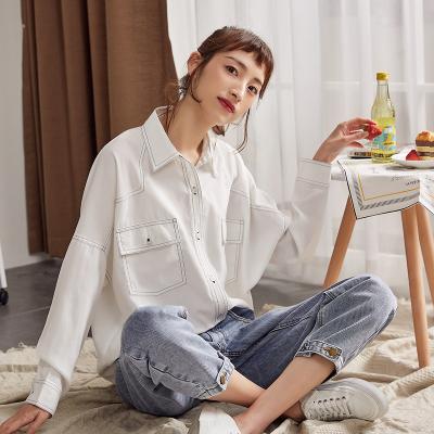 2件2.5折价89唐狮春秋白色长袖衬衫女韩版新款宽松衬衣学生设计感小众上衣洋气_1