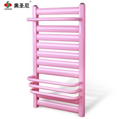 暖气片家用壁挂式钢制低碳钢小背篓卫浴水暖卫生间中心距40高80毛巾架9+4粉色
