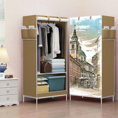 簡易衣柜學生宿舍單人小衣櫥置物整理收納柜經濟型鋼管加粗布衣柜-倫敦古鎮