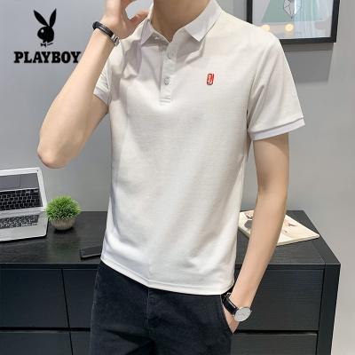 花花公子 ( PLAYBOY ICON )夏季男士短袖T恤韓版潮流修身2020新款刺繡簡約百搭翻領POLO衫潮