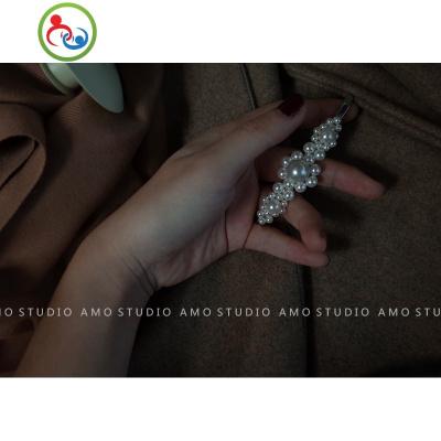 AMO高定版 手工網紅珍珠發夾女ins同款復古一字夾邊夾甜美發飾 JING PING水晶頭飾