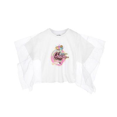 minipeace太平鸟童装2019夏季女童卡通印花圆领短袖T恤喇叭袖