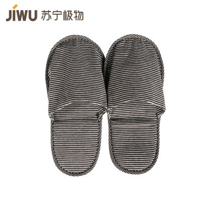 苏宁极物 日系简约和风轻质便携拖鞋粉灰条纹