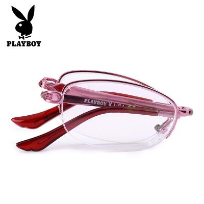 花花公子老花镜女高清老花眼镜 时尚老人超轻折叠便携式花镜 老光