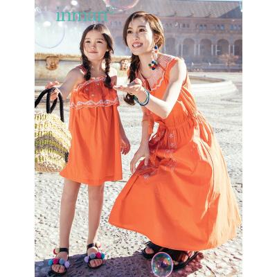 茵曼INMAN童装亲子装夏装2019新款橙色洋气女孩连衣裙舒适背心裙子
