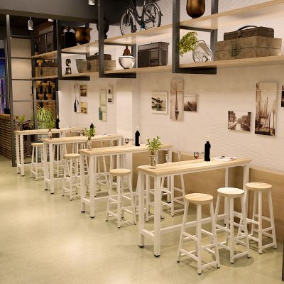 尋木匠靠墻吧臺桌家用客廳高腳桌簡約酒吧餐桌奶茶店桌椅組合長條桌窄桌