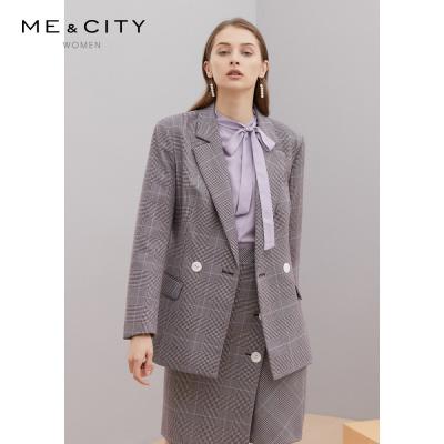 【1件3折价:277.8】羊毛MECITY女装复古工装风时髦格子西服外套