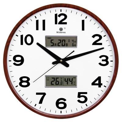 【新品特惠】圓形日歷帶溫度客廳大掛鐘臥室靜音鐘表辦公電子石英壁掛表
