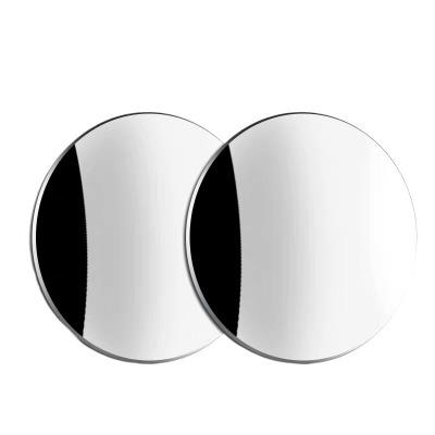汽車后視鏡小圓鏡倒車盲點鏡高清360度可調廣角帶邊框反光輔助鏡 無邊框小圓鏡一對