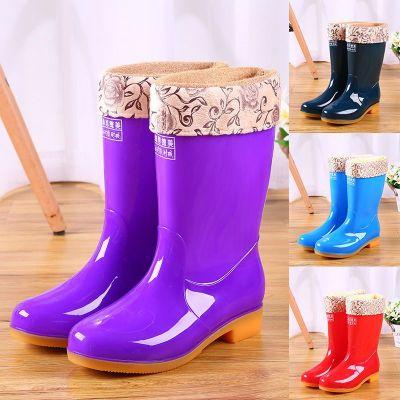 加絨棉下雨鞋雨靴防水鞋膠鞋套鞋水靴女時尚保暖中筒成人防滑 臻依緣