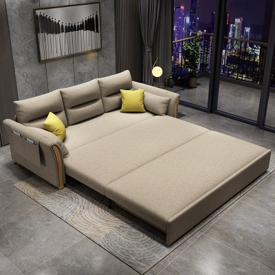 禧漫屋 多功能沙發床 懶人海綿乳膠1.8實木架客廳簡約現代布藝沙發床臥室兩用小戶型簡約現代雙人沙發床1.5米
