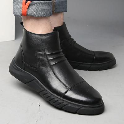 策霸2019冬季新款英伦高帮鞋男士皮鞋休闲时尚圆头套脚真皮靴子