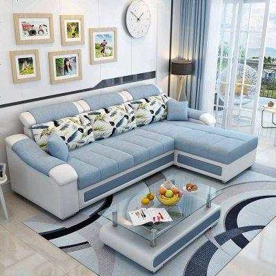 布藝沙發簡約現代可拆洗組合小戶型三人位布沙發客廳家具整裝