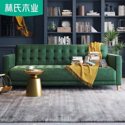林氏木业可折叠沙发床双人坐卧两用小户型客厅省空间沙发LS050SF1