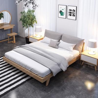一米色彩 床 实木床 双人床软靠可拆洗 北欧日式原木胡桃色简约现代 卧室家具