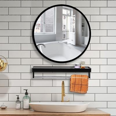 北歐浴室圓鏡子免打孔帶置物架衛生間掛墻式化妝鏡廁所貼墻形壁掛