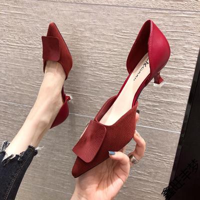 酒紅色中空高跟鞋女細跟2020年秋季新款百搭性感法式少女尖頭單鞋