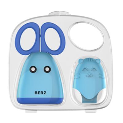 英國貝氏(BERZ)嬰兒寶寶輔食剪刀不銹鋼攜帶便捷實用方便 (藍色)
