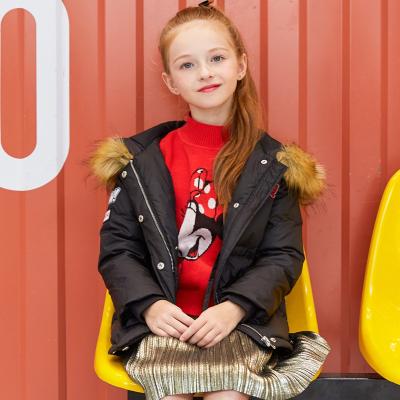 【斷碼清倉】moomoo童裝女童中長款羽絨服中大童小女孩冬季羽絨外套帶毛領