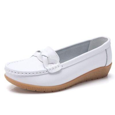 牛皮舒适软底大码妈妈鞋白色护士鞋豆豆鞋女休闲坡跟女单鞋 莎丞