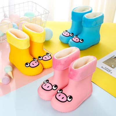 伯孜媚(Baizimei)新款卡通兒童雨鞋男小童寶寶加絨保暖防水防滑耐磨低筒水鞋