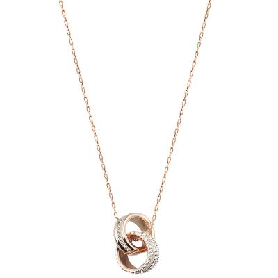 SWAROVSKI 施華洛世奇 人造水晶般質感簡約時尚螺旋女士項鏈吊墜玫瑰金5240525
