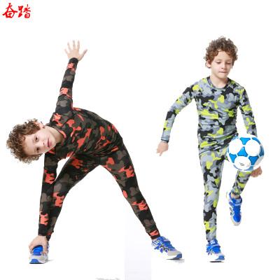 兒童運動緊身服迷彩套裝小學生籃球緊身衣跑步長褲打底貼身訓練服