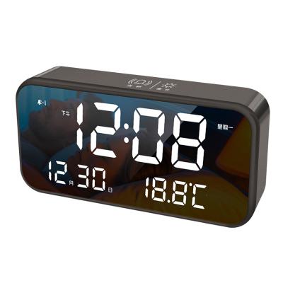 北極星(POLARIS)智能鋰電池音樂電子鬧鐘多功能客廳臥室LED靜音學生時鐘創意時尚鏡面家用床頭鐘表兒童臥室鬧表座鐘