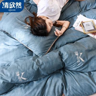 清欣然(QinGXR)家紡 四件套宿舍床上用品單人學生床單被套被子三件套床上用品