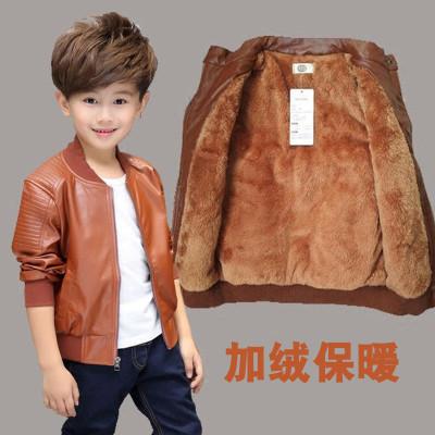 男童皮衣外套加绒宝宝秋冬装加厚儿童皮衣夹克中大童PU潮