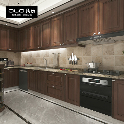 我樂櫥柜圣艾米倫 歐式實木廚柜定制廚房定做整體家用石英石臺面