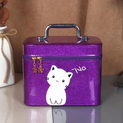 化妆包大容量红小号便携少女可爱收纳盒韩国ins简约化妆箱手提 紫色中号
