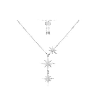 APM Monaco 女士S925银镶晶钻轻奢双流星项链女六芒星锁骨链吊坠银颈链 AC3350OX