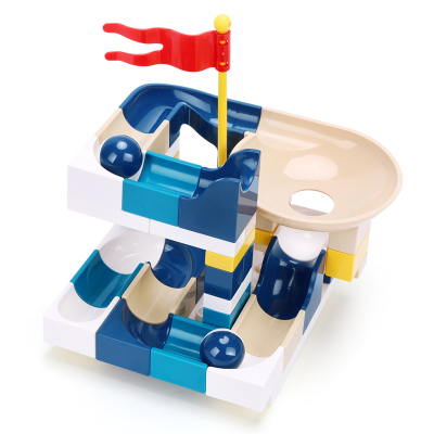 匯奇寶 兒童大顆粒滾珠百變滑道積木拼裝玩具益智軌道男孩積木桌智力動腦2-3-6歲 莫蘭迪滑道【52大顆粒含底板】