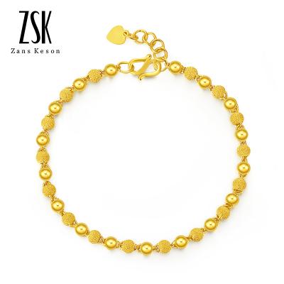 送女友禮物 ZSK珠寶黃金手鏈女 光砂足金手鏈 女士金手鏈時尚手鏈手鐲 黃金飾品 (計價)5.69克/16+2CM尾鏈