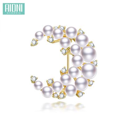 月亮款气质珍珠胸针 合金镀金月亮款气质珍珠胸针3.5-8mm扁圆白色 ADN2