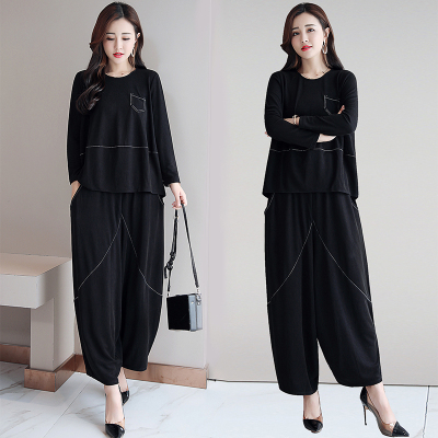 思蜜怡2020年新款闊腿褲時尚套裝腰粗遮肚子寬松顯瘦兩件套
