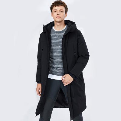 BOSIDENG брэндийн зузаан загварлаг малгайтай эрэгтэй куртка B80142013 хар805 185/100A