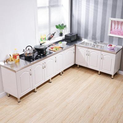 简易组装经济型橱柜不锈钢灶台水厨房单柜组合柜洗菜洗碗餐边柜