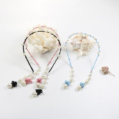 兒童卡箍女童卡頭飾公主中大童珍珠流蘇飾帶齒防滑布藝