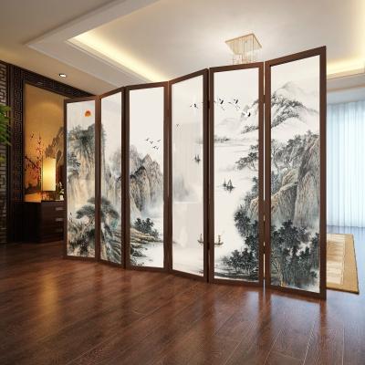 新中式屏风隔断墙客厅简约现代装饰办公室茶室移动叠实木酒店定制!