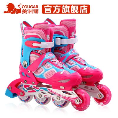 COUGAR美洲獅成人兒童溜冰鞋3-5-7-8-10歲可調閃光男女旱冰鞋輪滑鞋