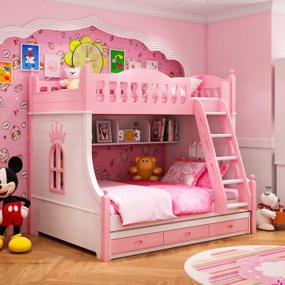 兒童床上下床女孩雙層床公主粉色高低床實木子母床多功能床組合床 雙層床+拖床(粉) 1200mm*1900mm更多組合形式